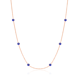 Wholesale 925 Sterling Silver Handmade Mini Evil Eye Stones 39 Inch Chain Pendant Necklace Jewellery
