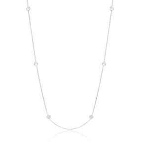 Fashion Zircon Long Necklaces for Women Wholesale 925 Sterling Silver Jewelry
