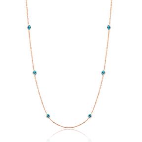 Minimal Evil Eye Design Turkish 925 Sterling Silver Long Necklace