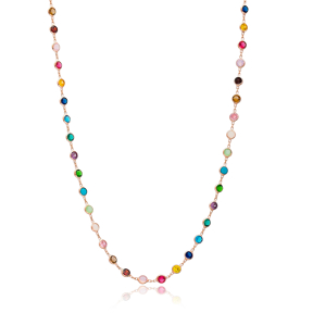 Mix Stone Long Necklace Wholesale 925 Sterling Silver Jewelry