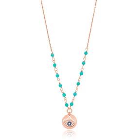 Round Shape Evil Eye Charm Necklace Turkish Wholesale Handmade 925 Silver Sterling Jewelry