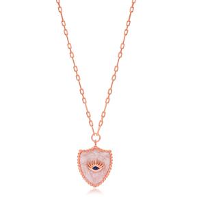 Medallion Evil Eye Design Pendant Wholesale Turkish Sterling Silver Necklace