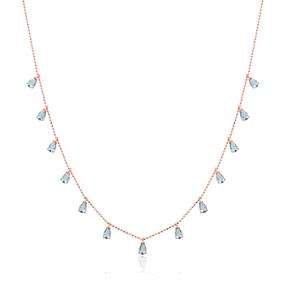 Minimalist Aquamarine Stone Design Turkish Wholesale Handcrafted 925 Silver Necklace
