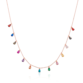 Minimalist Colorful Design Turkish Wholesale Handcrafted 925 Silver Necklace