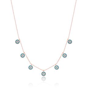 Minimalist Evil Eye Design Turkish Wholesale Handcrafted 925 Silver Necklace