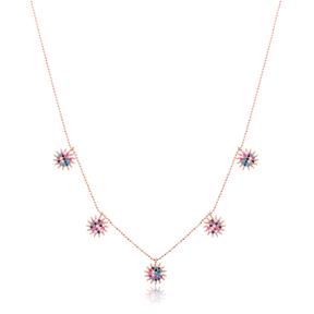 Minimalist Rainbow Sun Design Turkish Wholesale Handcrafted 925 Silver Necklace