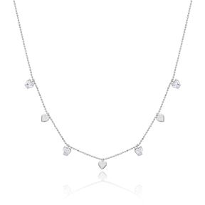 Heart Design Plain and Zircon Stone Turkish Wholesale 925 Silver Shaker Necklace