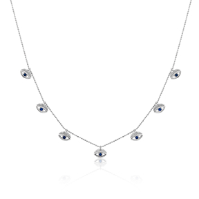 Dainty Shaker Eye Design Turkish Wholesale Handcrafted 925 Silver Necklace