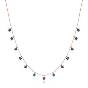 Turquoise Star Design Turkish Wholesale Handcrafted 925 Silver Necklace