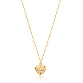 Heart Charm Design Pendant Turkish Handmade 925 Sterling Silver Jewelry
