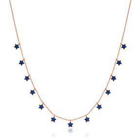 Sapphire Stone Star Design Turkish Wholesale Handcrafted 925 Silver Necklace