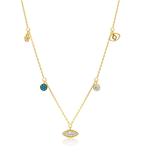 Hamsa Evil Eye Round Charm 925 Silver Shaker Necklace