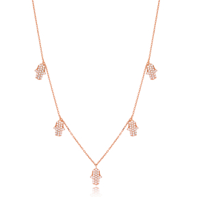 Hamsa Charm Necklace Wholesale Handmade 925 Silver Sterling Jewelry