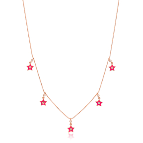 Pink Enamel Star Charm Jewelry Wholesale Handmade 925 Silver Sterling Necklace