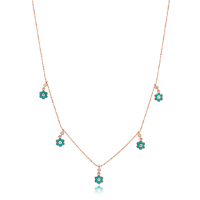 Turquoise Enamel Flower Charm Jewelry Wholesale Handmade 925 Silver Sterling Necklace