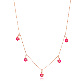 Pink Enamel Flower Charm Jewelry Wholesale Handmade 925 Silver Sterling Necklace