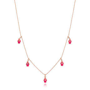 Pink Enamel Hamsa Charm Jewelry Wholesale Handmade 925 Silver Sterling Necklace
