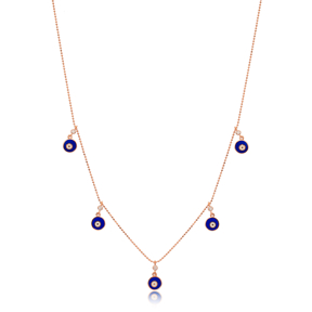 Blue Enamel Round Charm Jewelry Wholesale Handmade 925 Silver Sterling Necklace
