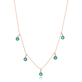 Turquoise Enamel Round Charm Jewelry Wholesale Handmade 925 Silver Sterling Necklace