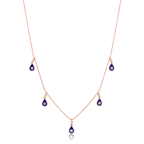 Blue Enamel Drop Charm Jewelry Wholesale Handmade 925 Silver Sterling Necklace
