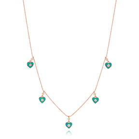 Turquoise Enamel Heart Charm Jewelry Wholesale Handmade 925 Silver Sterling Necklace