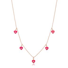 Pink Enamel Heart Charm Jewelry Wholesale Handmade 925 Silver Sterling Necklace