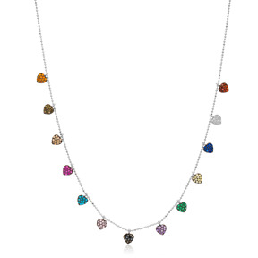 Mix Stone Heart Design Necklace Wholesale Handmade 925 Silver Sterling Jewelry