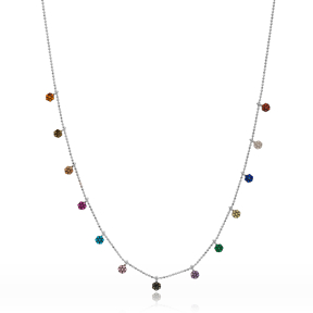 Colorful Hexagon Design Necklace Wholesale Handmade 925 Silver Sterling Jewelry