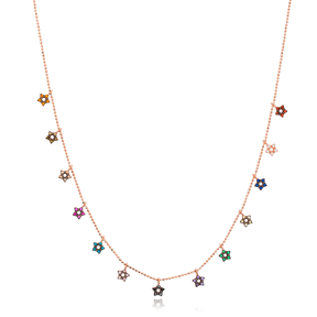 Mix Stone Star Design Necklace Wholesale Handmade 925 Silver Sterling Jewelry