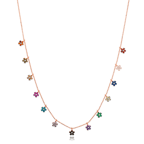 Colorful Snowflake Design Necklace Wholesale Handmade 925 Silver Sterling Jewelry