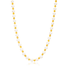 Elegant Pearl Stone Shaker Design Turkish Wholesale Handcrafted 925 Silver Necklace