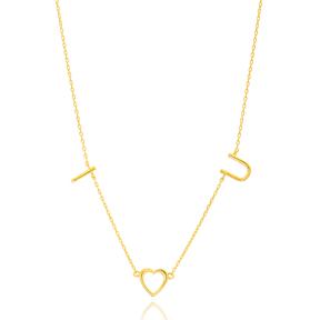 I LOVE U Letter Design Turkish Wholesale Handcrafted 925 Silver Necklace