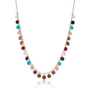Elegant Shaker Colorful Stone Design Turkish Wholesale Handcrafted 925 Silver Necklace