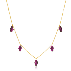 Ruby Stone Hamsa Charm Necklace Wholesale Handmade 925 Silver Sterling Jewelry
