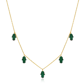 Emerald Stone Hamsa Charm Necklace Wholesale Handmade 925 Silver Sterling Jewelry