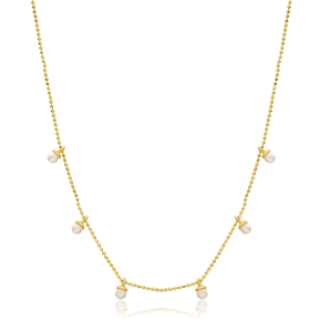 Pearly Design Turkish Wholesale Handcrafted 925 Silver Necklace
