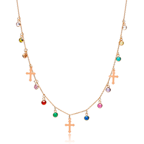 Colorful Stone Elegant Cross Design Shaker Necklace Wholesale Turkish Handcrafted 925 Silver Jewelry