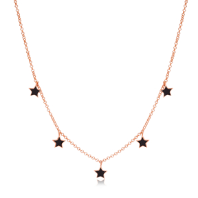 8x8 mm Size Black Enamel Star Design Charm Shaker Necklace Wholesale Turkish Handcrafted 925 Silver Jewelry