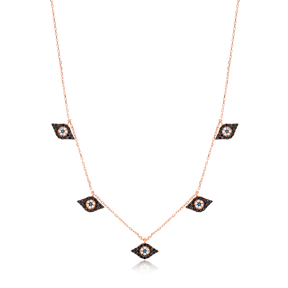 Minimalist Evil Eye Design Charm Shaker Necklace Wholesale Turkish Handcrafted 925 Silver Jewelry