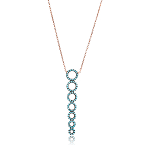Micro Turquoise Turkish Wholesale Silver Round Pendant