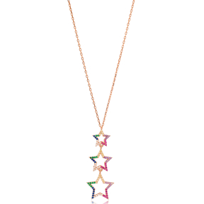 Colorful Star Charm Wholesale Handcrafted 925 Sterling Silver Necklace