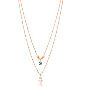 Hamsa Evil Eye Layered Design Pendant Wholesale 925 Sterling Silver Jewelry