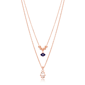 Evil Eye and Hamsa Layered Design Pendant Wholesale 925 Sterling Silver Jewelry