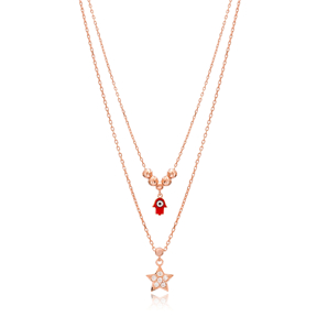 Star and Hamsa Layered Design Pendant Wholesale 925 Sterling Silver Jewelry