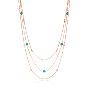 Turquoise Multi Layered Turkish Fashion 925 Sterling Silver Necklace
