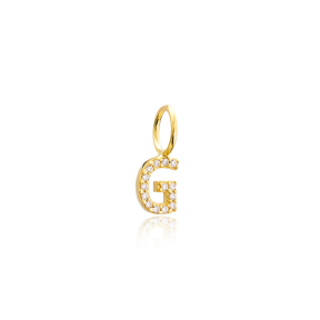G Letter Charm Pendant Wholesale Handmade Turkish 925 Silver Sterling Jewelry  With Hole Ø7 mm