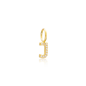 J Letter Charm Pendant Wholesale Handmade Turkish 925 Silver Sterling Jewelry  With Hole Ø7 mm