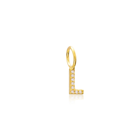 L Letter Charm Pendant Wholesale Handmade Turkish 925 Silver Sterling Jewelry With Hole Ø7 mm