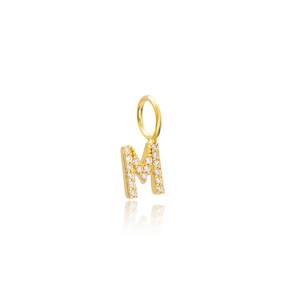 M Letter Charm Pendant Wholesale Handmade Turkish 925 Silver Sterling Jewelry With Hole Ø7 mm