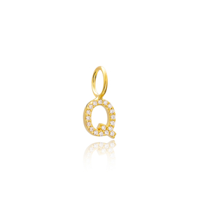 Q Letter Charm Pendant Wholesale Handmade Turkish 925 Silver Sterling Jewelry With Hole Ø7 mm